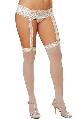 Dreamgirl White Garter Belt Pantyhose 0013X White One Size Fits All - Queen