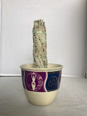 Ceramic Smudge Large Bowl White Sage Herbs Spiritual Incense Holder Goddess