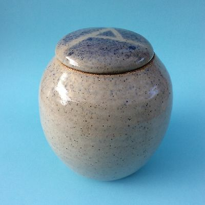 STONEWARE POTTERY GINGER JAR Lidded Australian? Signed JK Pale Blue Gray Glaze