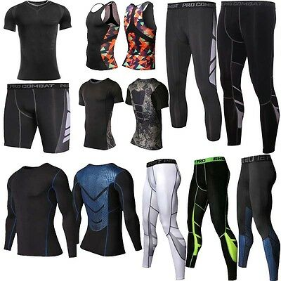 Gym Mens Compression Armour Base Layer Tights Long Pants T-Shirts Tops V164-1