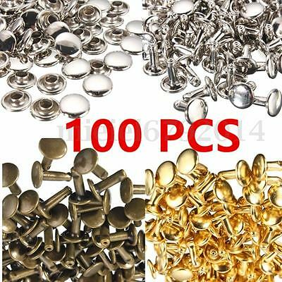 100x Metal Two Piece Double Cap Tubular Rivets Leather Punk Craft Repair 3 Size