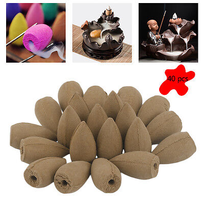 40pcs Natural Smoke Tower Cones Bullet Backflow Incense Hollow Cone Jasmine BR