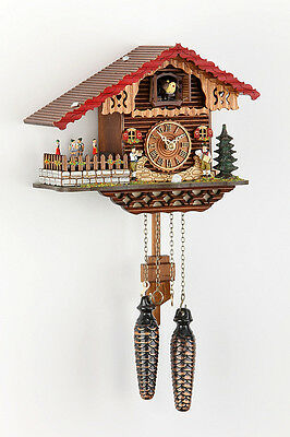 Black  forest Cuckoo clock with automatic Night-time shut-off & Wood dial