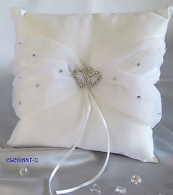 """""SALE""""REDUCED~WHITE Wedding Satin Ring Pillow-With Diamanté Entwined Hearts"