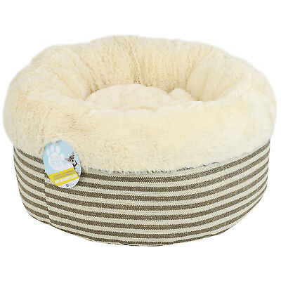 Me & My Super Soft Round Striped Donut Pet Bed Cat/kitten/dog/puppy Warm/snug