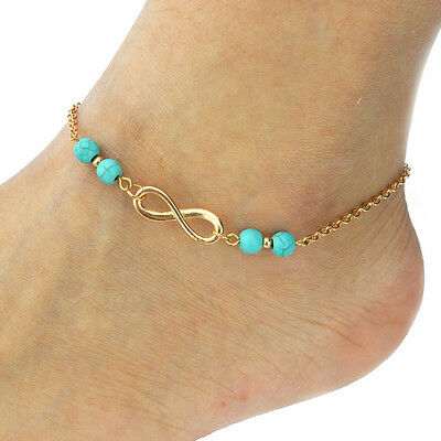 NEW Infinity Turquoise Anklet Bracelet Chain Gold Ankie Foot Beach Barefoot Gift