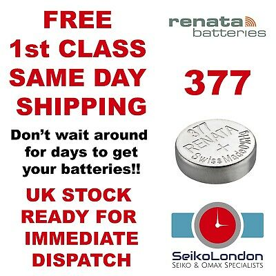 1X Renata 377, AG4, SR626SW, G4A, LR626, LR66, 1.55v Battery FREE 1st class post