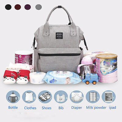 AU Nappy Mummy Backpack Mother Diaper Bags Baby Newborn Tote Shoulder Bag New
