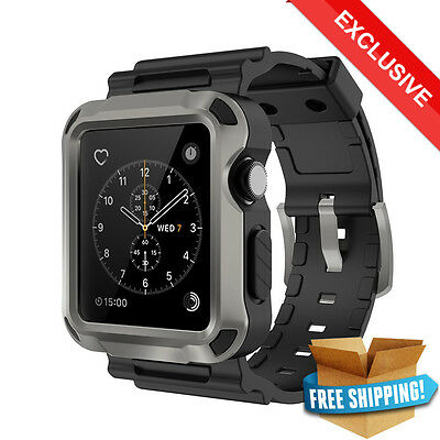 Apple Watch Case 42mm Black SIMPEAK Protective Rugged Bumper with Straps Bands