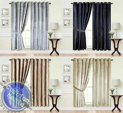 Curtains Eyelet Ring Top thick Crush Velvet Ready Made fully Lined Designer