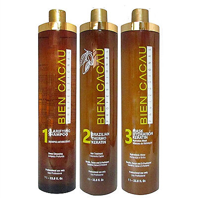 Brazilian Keratin Smoothing Hair Straightening System (1 Litre x 3) – Bien Cacau