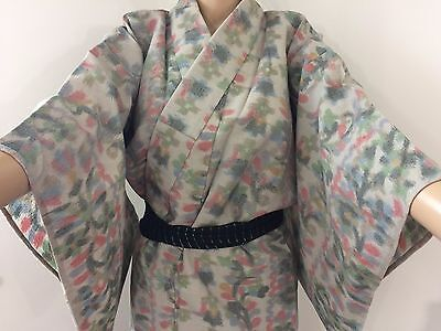 Authentic Japanese grey wool kimono for women, Japan import, used (F1146)