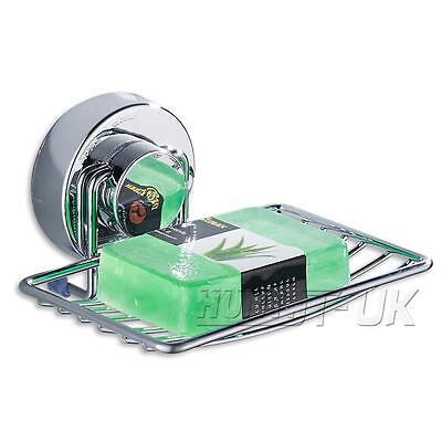 Metal Strong Suction Bathroom Shower Chrome Accessory Soap Dish Holder Cup Tray