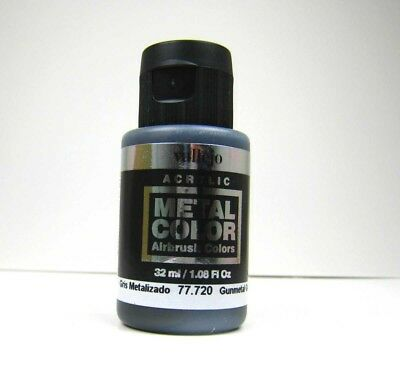 (20,47€/100ml) Vallejo Metal Colors 720 Gunmetal Grey 32ml Airbrush Farbe