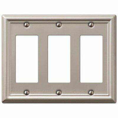 Decorative Wall Switch Outlet Cover Plates Brushed Nickel, Triple Rocker