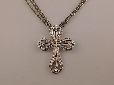 Sterling Silver Cross Pendant Triple Chain Necklace Silver China Triple Chain