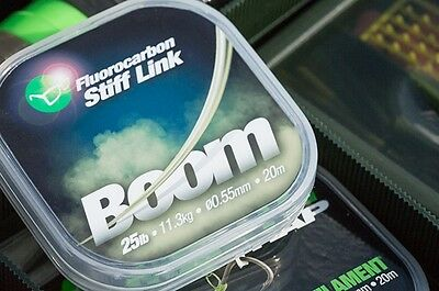 Korda Carp Fishing BOOM Fluorocarbon Stiff Link Rig Material - All Strains