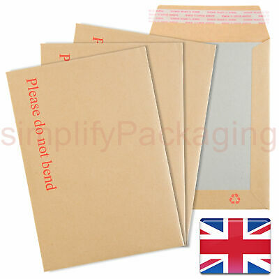 Do Not Bend Strong Hard Board-Backed Manilla Envelopes C4, C5, C6, A4, A5, A6