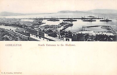 GIBRALTAR, South Entrance to the Harbour, Printed Postcard by V.B. Cumbo.