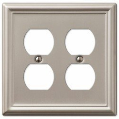 Decorative Wall Switch Outlet Cover Plates Brushed Nickel, Double Duplex