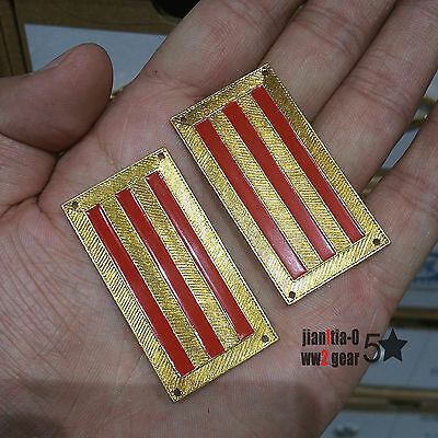 WW2 WWII China KMT Army Badge Rank Shoulder Mark Gold & Red