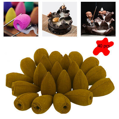 40pcs Natural Bullet Sandalwood Fragrance Incense Backflow Cones Tower Buddhism~