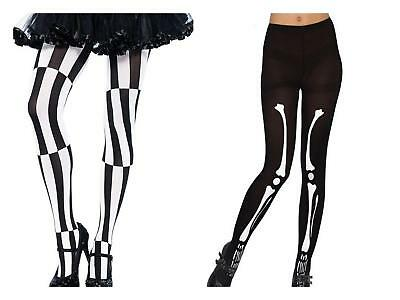 Women Skeleton Tights Halloween Psychedelic Black White Gothic Punk