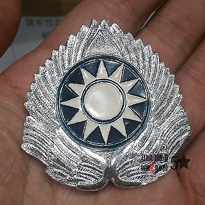 WW2 China White Color KMT Field Cap Insignia  Kuomingtang Badge Screwing Fix