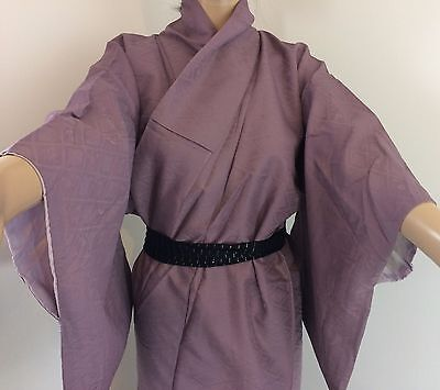 Authentic Japanese amethyst purple silk kimono for women, Japan import (M1152)