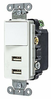 Bryant Electric USBB102W 15 Amp 125V Decorator USB Switch Combination Charger,