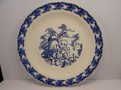 "RYL29 by Royal (USA) 12-1/4"" Round Chop Plate Blue Windmill Scene Blue Border"