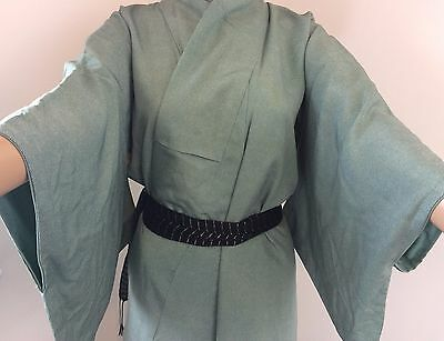 Authentic Japanese green silk kimono for women, Edo Komon, M (M1153)
