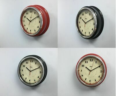 NEW Retro Vintage Diner Round American  Kitchen Wall Clock Red Black