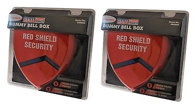 Red Shield Dummy Alarm Siren Pack of Two (with flashing LED's).