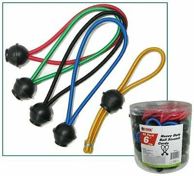 "Pkg 40 6"" Long Heavy Duty Elastic Bungee Cord with Ball Ends"