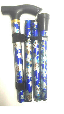 2 x Latest Lightweight Folding & Extenable Walking Stick Royal Blue Flower UK