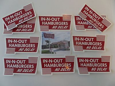 "In-N-Out Burger, ""no Delay"" Stickers, Lot Of 10 (Ten)**** W/drive-Thru Sticker"