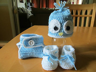 Baby bird blue hat, diaper cover and booties (0-3 months) crochet