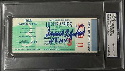 "Frank Robinson ""ws Mvp"" Signed 1966 World Series Ticket Psa Graded 10 Gem Auto"