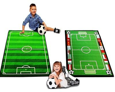 Kids Bedroom Football Field & Pitch Floor Rug Nursery Boys Play Fun Mats Carpets
