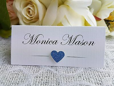 Personalised 3D Glitter Heart Wedding Party Table Place Name Seating Cards
