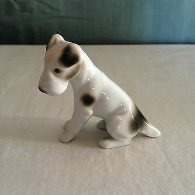Vintage Wire Hair Fox Terrier Puppy Dog Figurine Marked Crown AP Germany