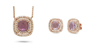 14k Rose Gold Diamond and Amethyst Earring and Necklace