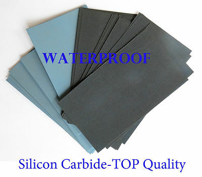 "7 Pc. EXTRA FINE Sandpaper Wet  Dry 3""x 5 1/2"" COMBO 3000/5000/7000/12000 Grit"