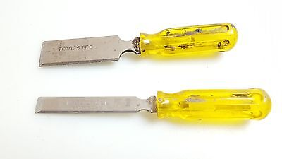 Vintage Pair 2 Old Chisels Chisel Wood Carving Punch USA Yellow Handle Beaters