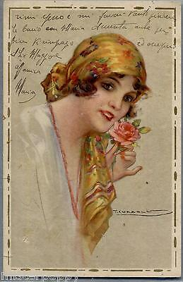 CORBELLA Donnina con Rosa Rossa Girl with Red Rose PC Circa 1920