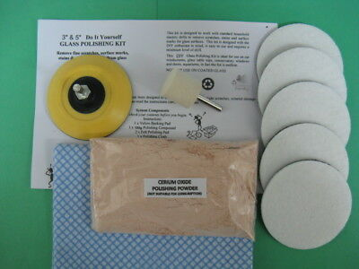 "GLASS POLISHING KIT~100g CERIUM OXIDE 3.5μ~3"" PAD~FINE SCRATCH~WINDSCREEN ~GLASS"