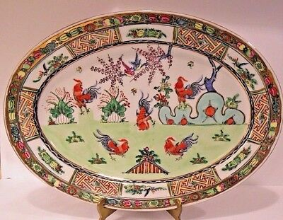 A Chinese Canton Famille Rose Porcelain Platter Rooster Cockerel Design
