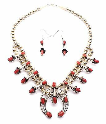 Navajo Sterling Silver Coral Squash Blossom Necklace Set - Phil & Lenore Garcia