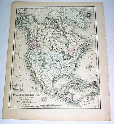 1879 Delicately Hand-Colored Antique Map: North America